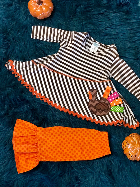 Mollie & Millie By Peaches N Cream Thanksgiving Stripped Turkey Pant Set CL - JEN'S KIDS BOUTIQUE