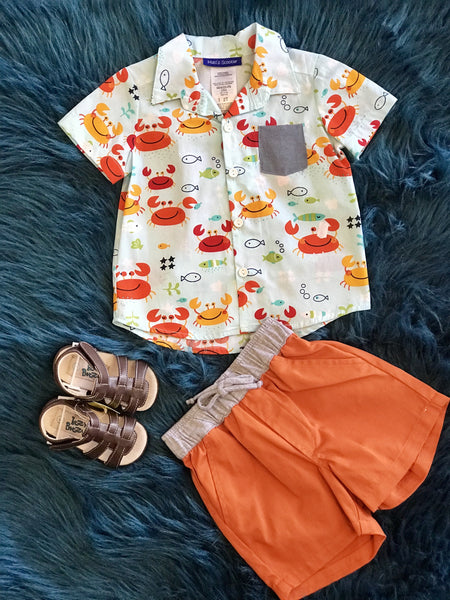 Summer Boys Fun Button Up Crab Toddler Shorts Set - JEN'S KIDS BOUTIQUE