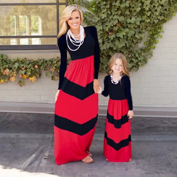 Mom & Me Girls Long Sleeve Black & Red Maxi Dress - JEN'S KIDS BOUTIQUE