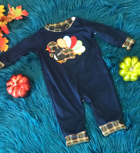 New Fall Thanksgiving Navy & Plaid Turkey Foot Ball Infant Boys Romper - JEN'S KIDS BOUTIQUE