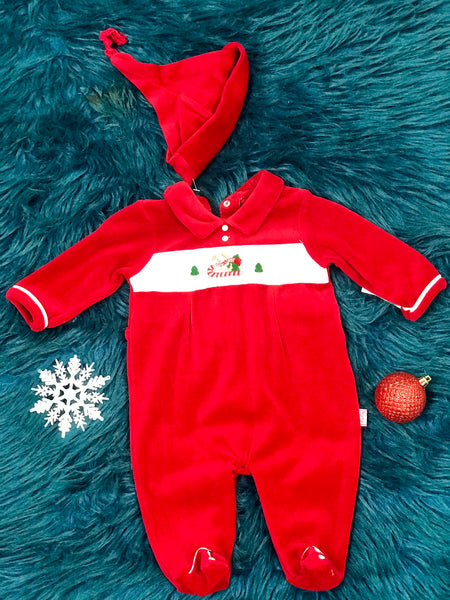 Christmas Boys Puppy On A Sleigh Infant Romper With Hat CH - JEN'S KIDS BOUTIQUE