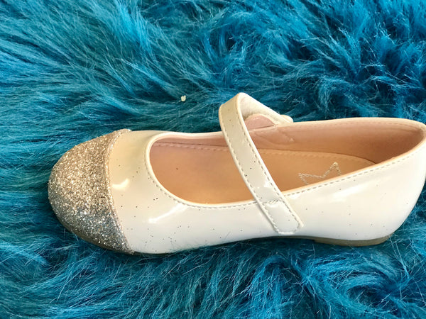 2018 Spring Lara Bebe Shining Ivory & Gold Girls Flats - JEN'S KIDS BOUTIQUE