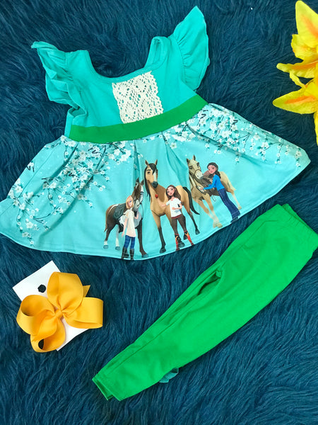 Character Fun Cartoon Whisper Horse & Friends Fun Cotton Capri Set - JEN'S KIDS BOUTIQUE