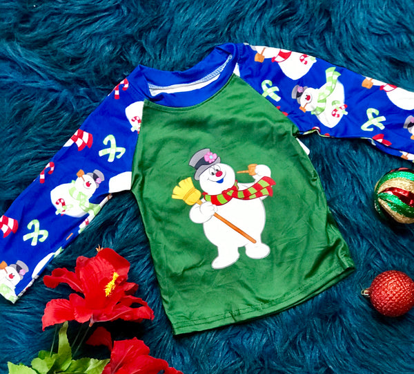 New Christmas Boys Frosty The Snowman Green & Bluw Candy Cane Fun Shirt - JEN'S KIDS BOUTIQUE
