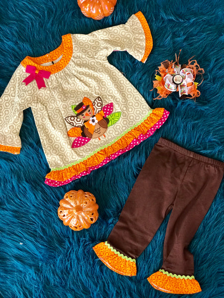 2018 Fall Turkey Brown Print Turkey Pant Set - JEN'S KIDS BOUTIQUE