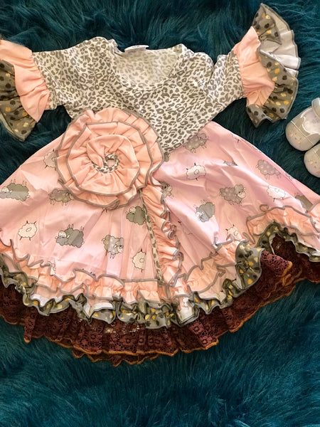 2018 Fall Little Bo Peep Pink Cheetah Dress - JEN'S KIDS BOUTIQUE