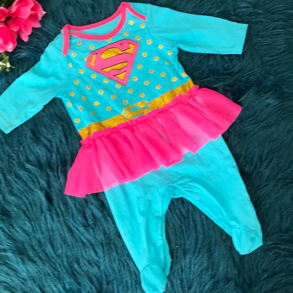 Blue Supergirl Longall w/ Tutu - JEN'S KIDS BOUTIQUE