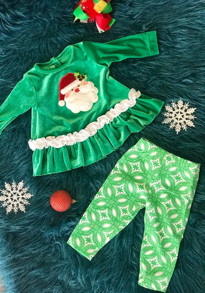 Peaches N Cream Green Santa Dress Infant Set - JEN'S KIDS BOUTIQUE