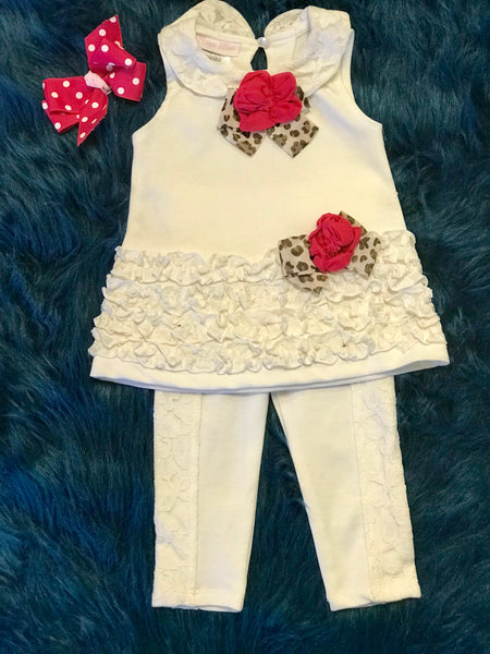 Spring Fun Cream Cheetah/ Hot Pink Sleeveless Pant Set - JEN'S KIDS BOUTIQUE