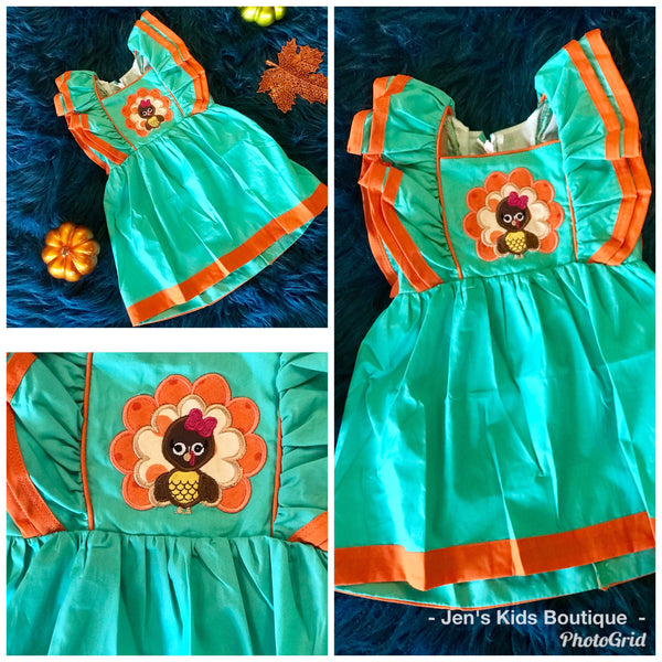 2018 Perfect Aqua Turkey Mary Kate Sleeveless Dress - JEN'S KIDS BOUTIQUE