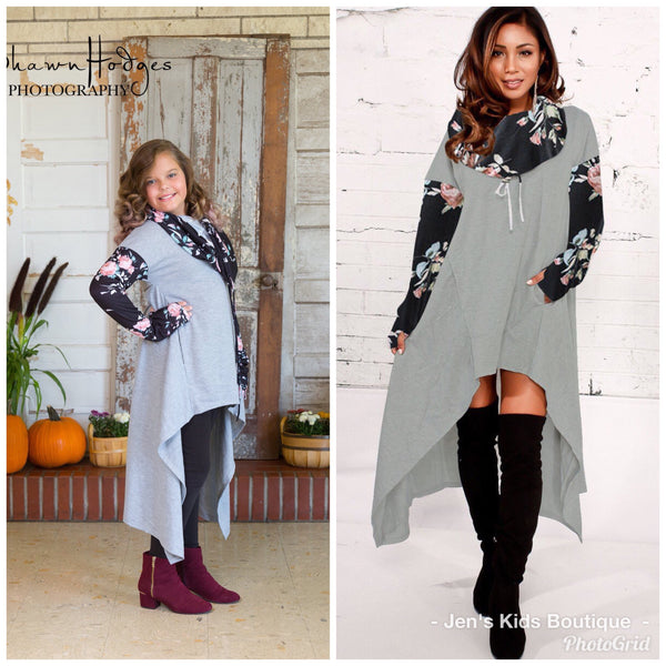2018 Fall Women's Hi Low Gray & Black Sweater Hooded Dress - JEN'S KIDS BOUTIQUE