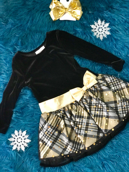 Black Velvet & Gold With Sequins Cheetah Dress - JEN'S KIDS BOUTIQUE
