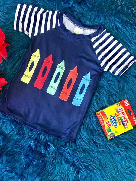 Back To School Boys Navy Crayons Fun Shirt - JEN'S KIDS BOUTIQUE