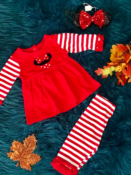 New Fall Mouse Fun Girls Applique Piece Set - JEN'S KIDS BOUTIQUE