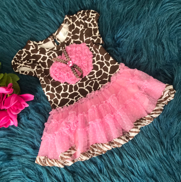 Rare Editions Brown & Pink Giraffe Print w/ Tulle Heart Tutu Dress - JEN'S KIDS BOUTIQUE