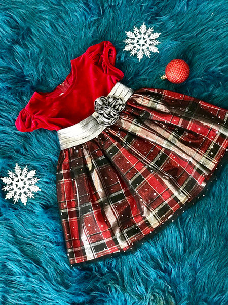 2018 Christmas Velvet Plaid Overlay Hope Dress - JEN'S KIDS BOUTIQUE