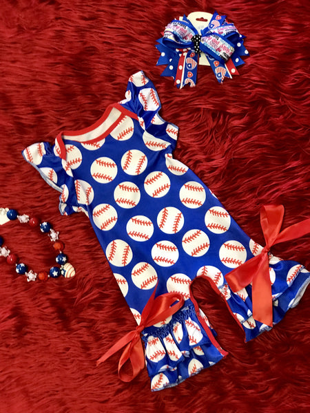 Summer Adorable Softball Infant Romper - JEN'S KIDS BOUTIQUE