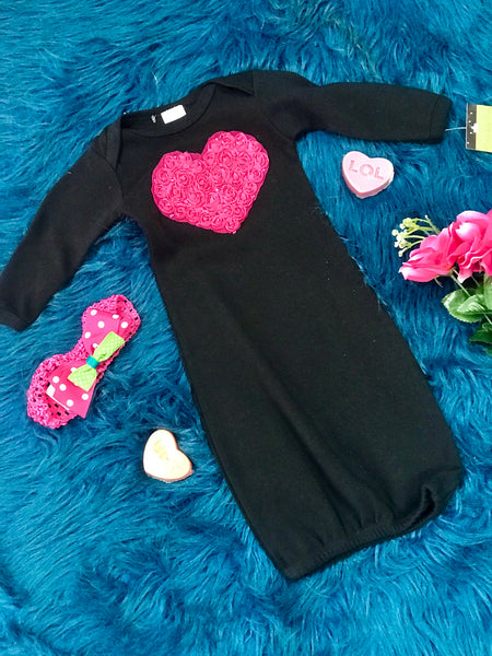 2019 Beautiful Black With Hot Pink Heart Infant Gown - JEN'S KIDS BOUTIQUE