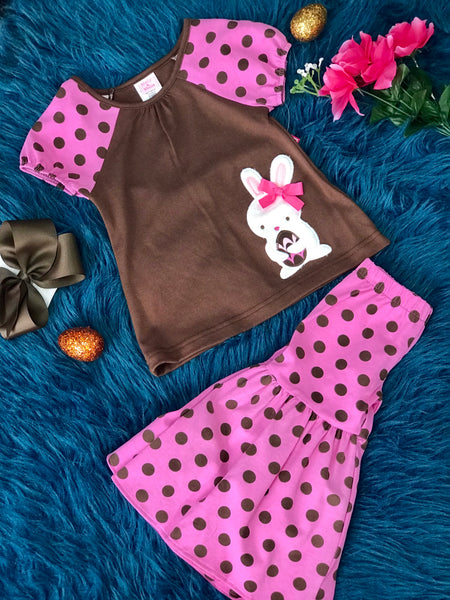 Easter Polka Dot Infant Brown Bunny Set With Capris  By Peaches N Cream C - JEN'S KIDS BOUTIQUE