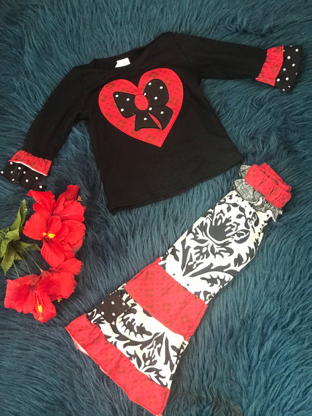 Beautiful Valentines Red & Black Bow Heart Paisley Ruffle Flair Pants Set