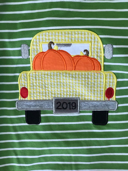 New Fall Be Mine Green Stripped Pumpkin Applique Romper - JEN'S KIDS BOUTIQUE