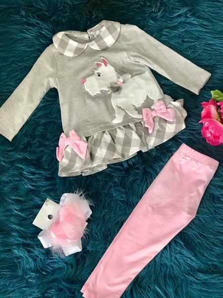 New Fall Rare E Gray & Pink Scottie Puppy Set - JEN'S KIDS BOUTIQUE