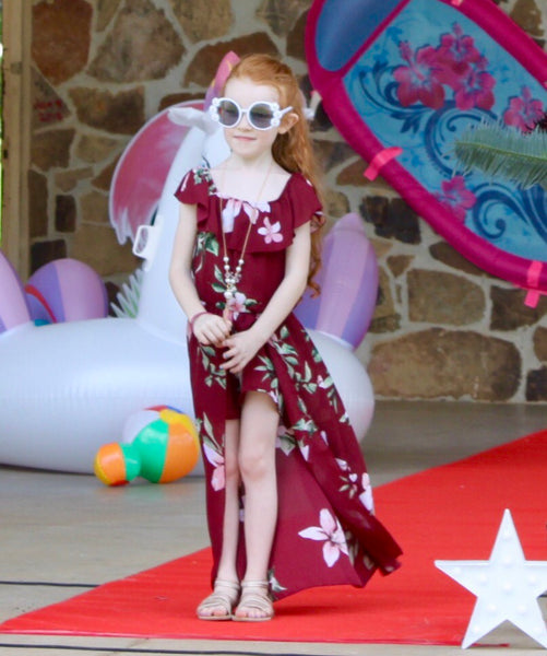 2019 Summer Angel Burgandy Flower Girls Flay Away Maxi Romper with Dream Catcher Necklace - JEN'S KIDS BOUTIQUE