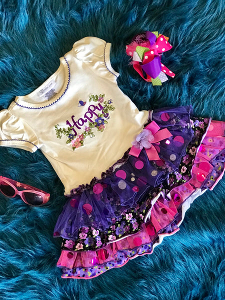 Summer Happy Cream & Purple TuTu Dress ECL - JEN'S KIDS BOUTIQUE