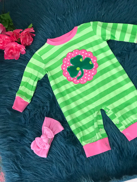 Saint Patricks Pink & Green Clover Infant Romper P - JEN'S KIDS BOUTIQUE