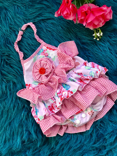 2019 Spring & Summer Girly Bird By Mack Co Red & Pink Passion Flower Fun Infant Bubble Romper - JEN'S KIDS BOUTIQUE