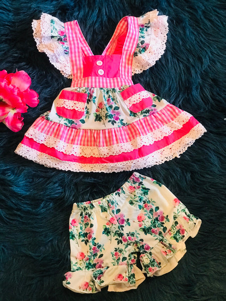 Summer Fun Hot Pink Rose Pinafore & Pocket Dress Set - JEN'S KIDS BOUTIQUE