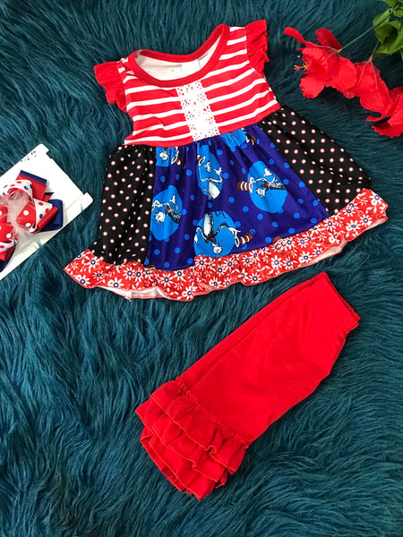 Character Fun Cotton Dr Seuss Candy Red & White Stripped Capri Set - JEN'S KIDS BOUTIQUE