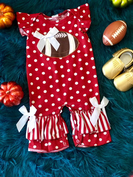 2018 Fall Game Day Maroon Polka Dot Football Infant Romper - JEN'S KIDS BOUTIQUE