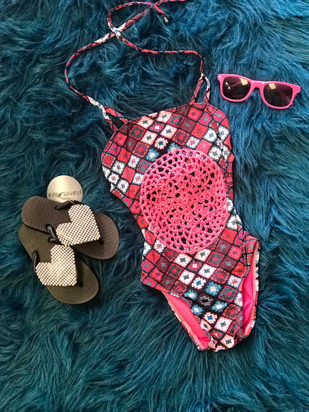Planet Sea One Piece Navy Mixed Crochet Laser Cut Swimsuit - JEN'S KIDS BOUTIQUE