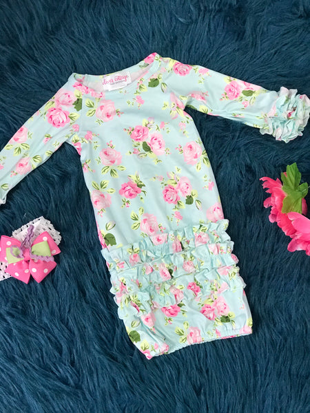 Sweet & Precious Blue Rose Ruffle Baby Gown - JEN'S KIDS BOUTIQUE