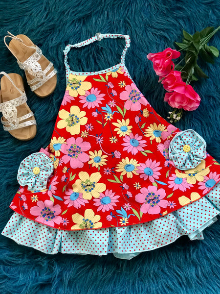 2019 Spring & Summer Girly Bird By Mack Co Red & Blue Floral Apron Halter Dress With Pockets - JEN'S KIDS BOUTIQUE