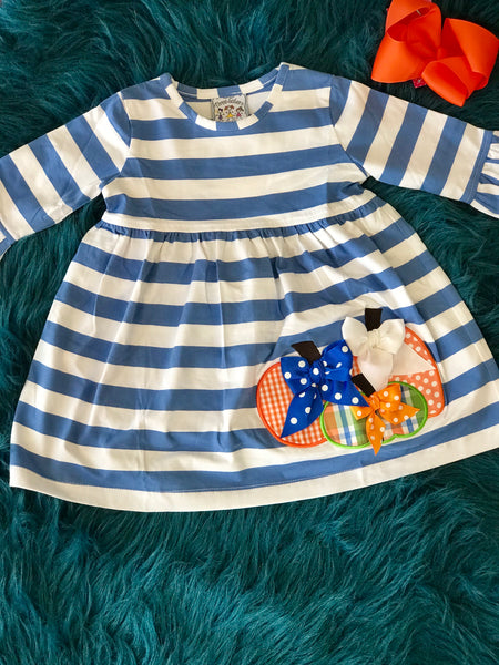 2018 Fall Three Sisters Thanksgiving Stripped Pumpkin Dress - JEN'S KIDS BOUTIQUE