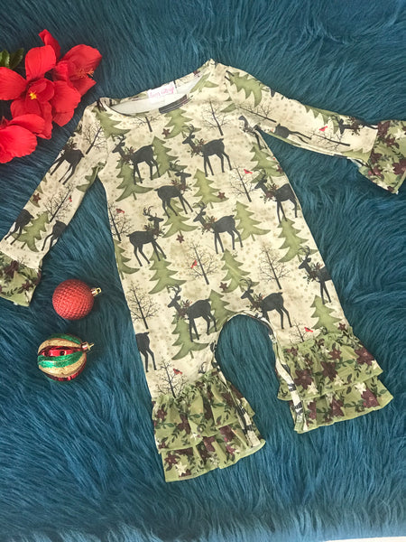 Clover Cottage Christmas Tree & Reindeer Ruffle Romper - JEN'S KIDS BOUTIQUE