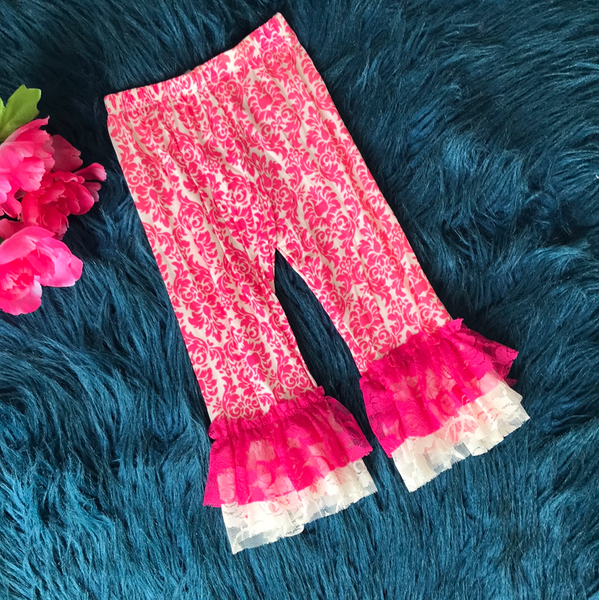 Pink & White Patterned Ruffle Pants CLS - JEN'S KIDS BOUTIQUE