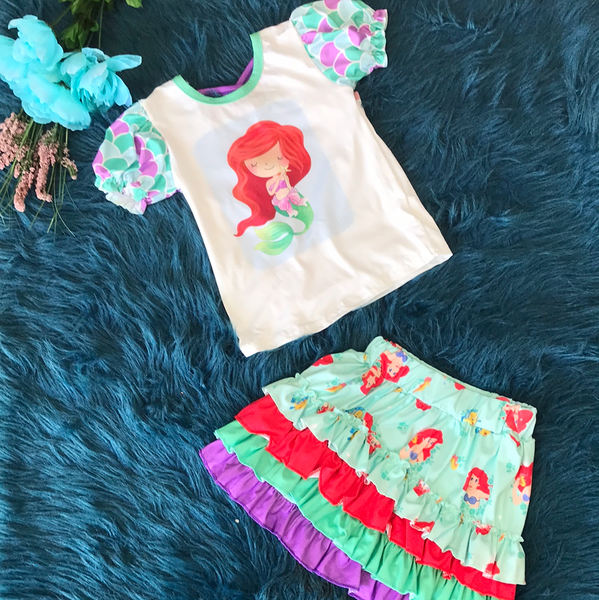 Character Fun Ariel The Mermaid Skirt Set - JEN'S KIDS BOUTIQUE
