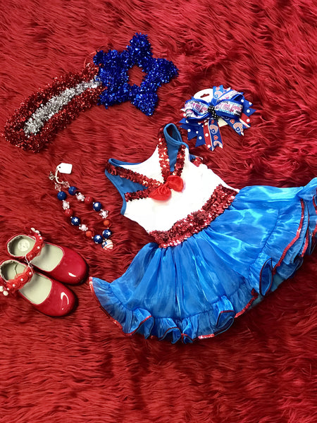 Summer 4th O July Red White Blue Sleeveless Dance TuTu Dress - JEN'S KIDS BOUTIQUE