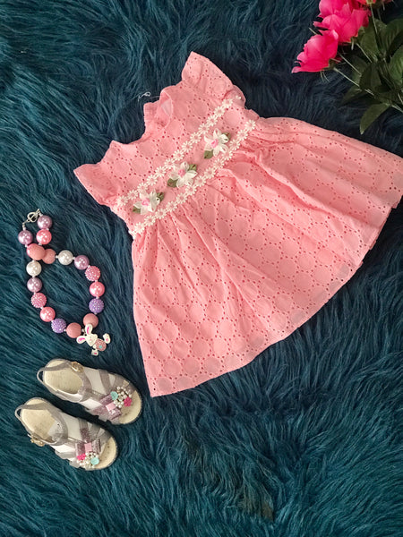 2019 Spring & Summer Sweet Pink  Flower Infant Dress - JEN'S KIDS BOUTIQUE