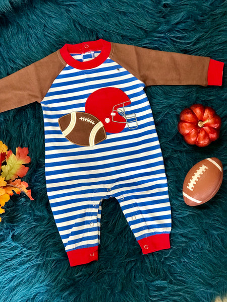 Fall Be Mine Boys Blue Stripped Applique Football Romper - JEN'S KIDS BOUTIQUE