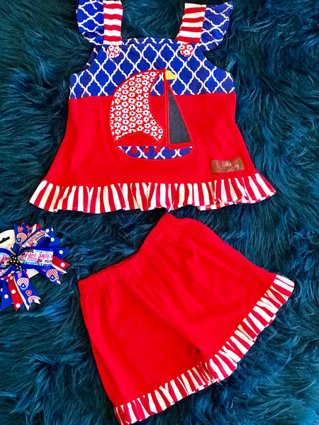 Millie Jay Summer Fun Red/White/Blue Sail Boat Shorts Set C - JEN'S KIDS BOUTIQUE