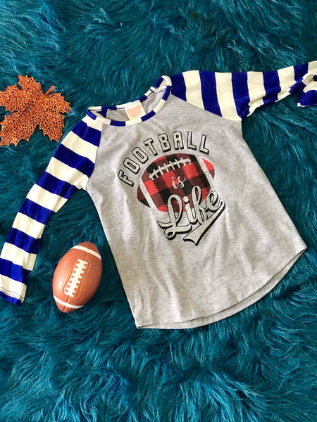 Fall Girls Football Is Everything With Plaid Football & Stripped Sleeves - JEN'S KIDS BOUTIQUE
