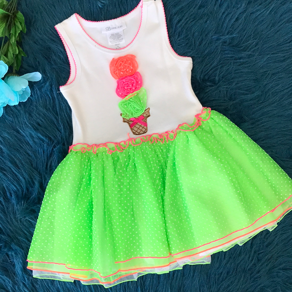 Bonnie Jean White & Neon Ice Cream Dress ECL - JEN'S KIDS BOUTIQUE