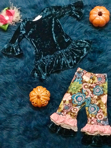 Flap Happy Christmas Blue Velvet Paisley Flower Pant Set - JEN'S KIDS BOUTIQUE