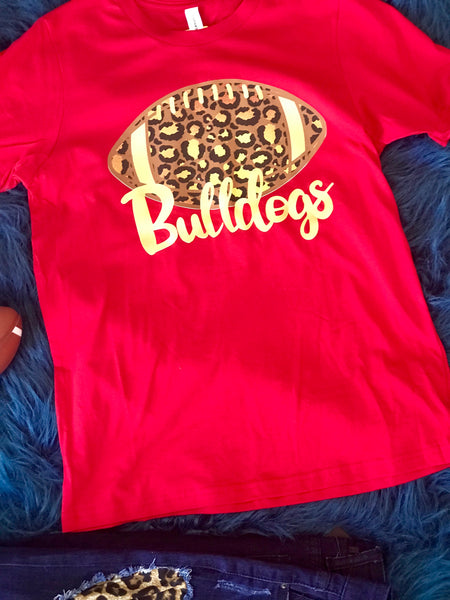 2018 Fall Football Red Cheetah Bulldogs Women's Shirt - JEN'S KIDS BOUTIQUE