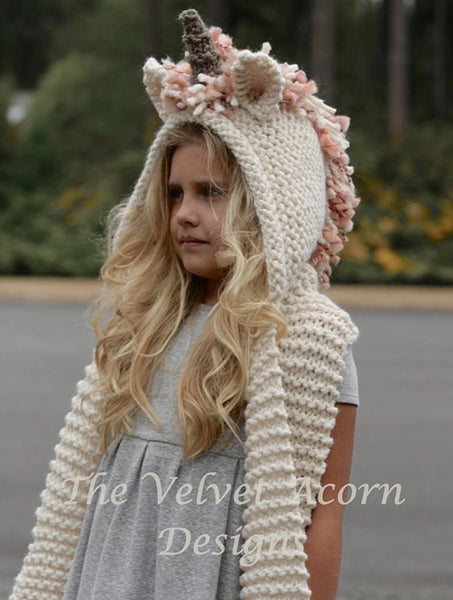 2018 Girls Knit Unicorn Cloak Hat Scarf - JEN'S KIDS BOUTIQUE