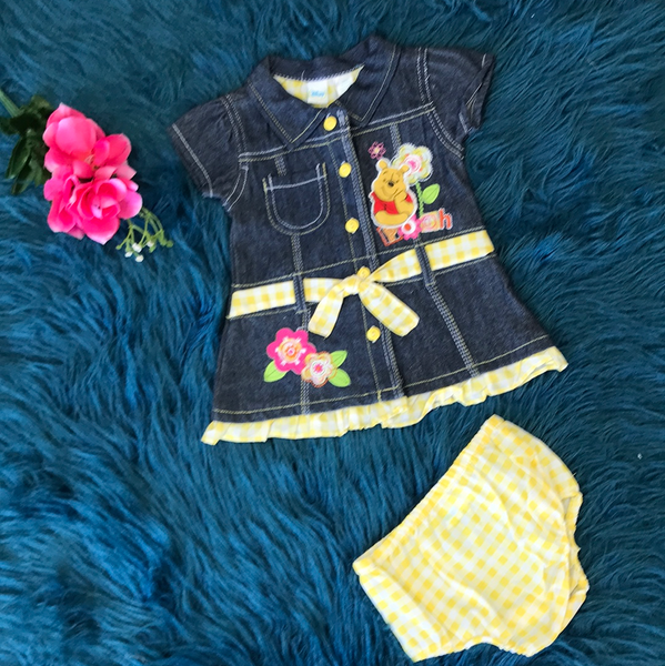Spring Disney Denim & Yellow Pooh Dress